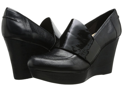 Naya - Othello (Black Leather/Patent) Women's Wedge Shoes