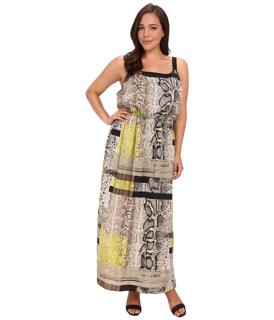 Vince Camuto Specialty Size - Plus Size Thin Strap Neo Snake Maxi Dress (Fossil) Women's Dress plus size,  plus size fashion plus size appare