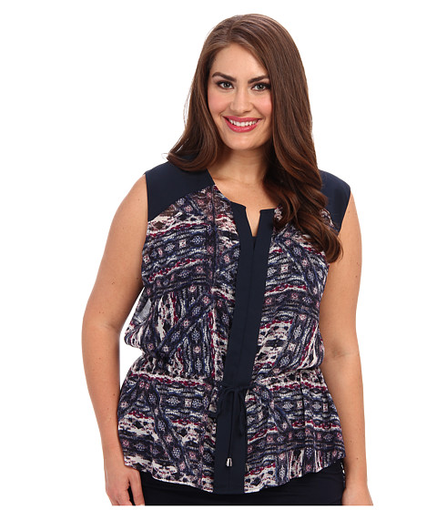 Vince Camuto Plus - Plus Size S/L Tie Front Tribal Blouse w/ Cami (Rich Black) Women's Blouse