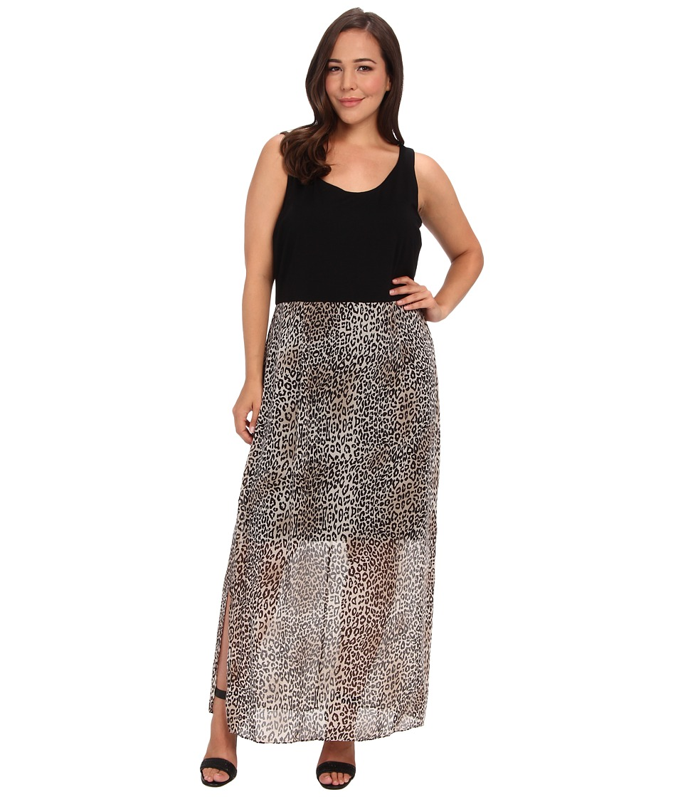 Vince Camuto Specialty Size - Plus Size Chiffon Overlay Des Leopard Maxi Dress (Rich Black) Women's Dress plus size,  plus size fashion plus size appare