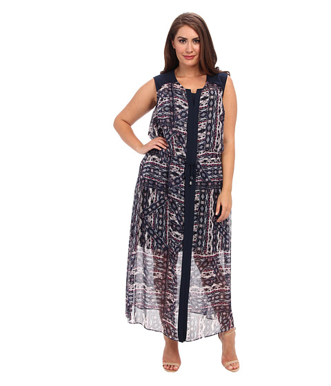 Vince Camuto Plus - Plus Size Tribal Patchwork Tie Waist Maxi Dress (Rich Black) Women