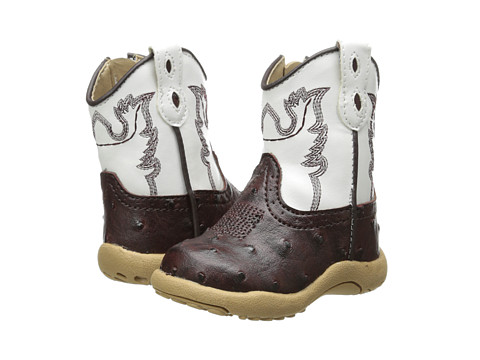 Roper Kids - Ostrich Vamp with Contrast Shaft (Infant/Toddler) (Brown) Cowboy Boots