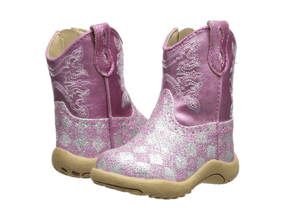 Roper Kids - Pink Checkerboard Glitter Print (Infant/Toddler) (Pink) Cowboy Boots