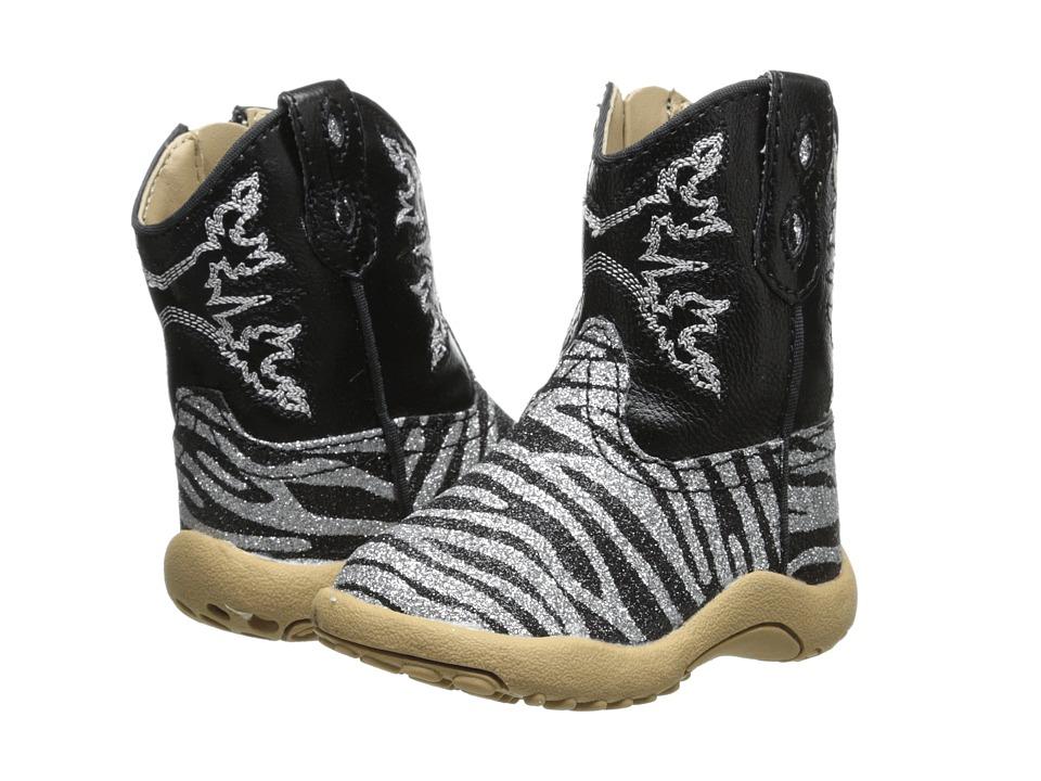 Roper Kids - Black and Silver Zebra Glitter Print (Infant/Toddler) (Black) Cowboy Boots