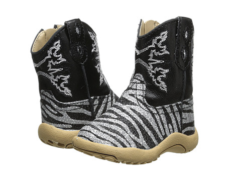 Roper Kids - Black and Silver Zebra Glitter Print (Infant/Toddler) (Black) Cowboy Boots