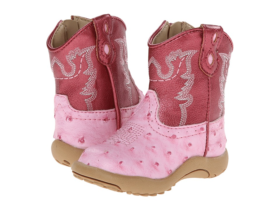 Roper Kids - Ostrich Vamp with Contrast Shaft (Infant/Toddler) (Pink) Cowboy Boots
