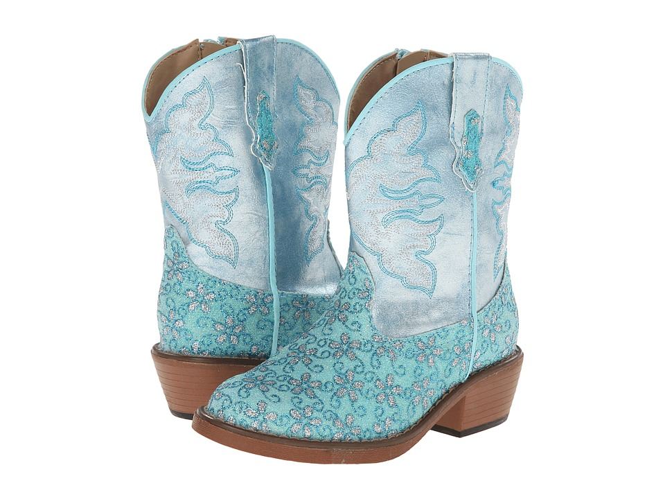Roper Kids - Floral Glitter Snip Toe (Toddler) (Turquoise) Cowboy Boots