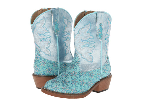Roper Kids - Floral Glitter Snip Toe (Toddler) (Turquoise) Cowboy Boots
