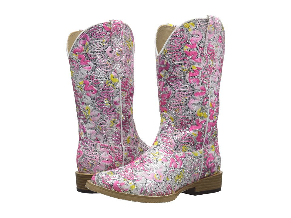 Roper Kids - All Over Glitter and Lace Square Toe (Toddler/Little Kid) (Pink) Cowboy Boots