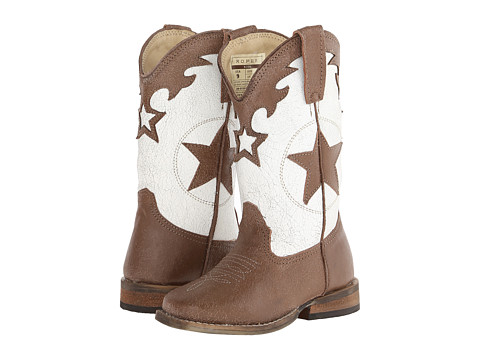 Roper Kids - Patchwork Square Toe (Toddler/Little Kid) (Tan) Cowboy Boots