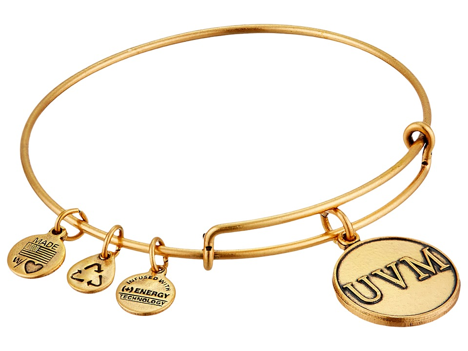 Alex and Ani - University of Vermont Logo Charm Bangle (Rafaelian Gold Finish) Bracelet