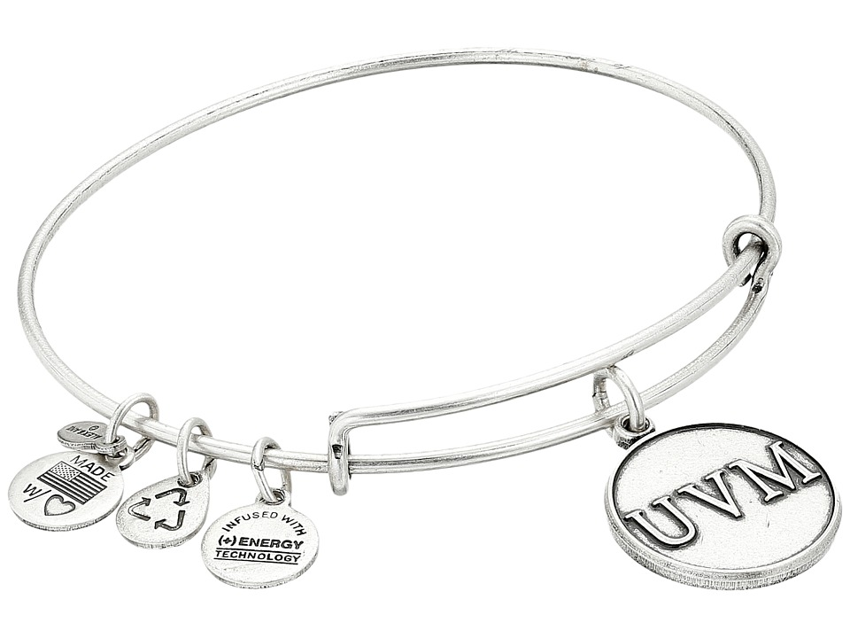 Alex and Ani - University of Vermont Logo Charm Bangle (Rafaelian Silver Finish) Bracelet
