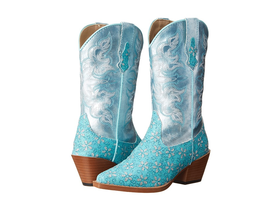 Roper Kids - Floral Glitter Snip Toe (Toddler/Little Kid) (Turquoise) Cowboy Boots