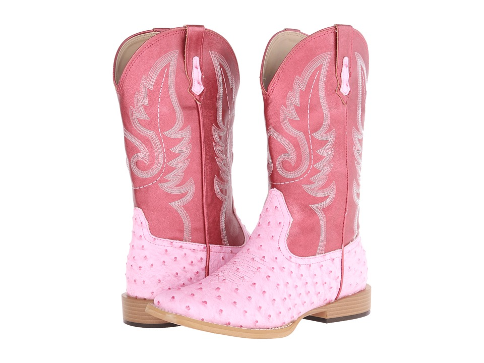 Roper Kids - Ostrich Vamp with Contrast Shaft (Big Kid) (Pink) Cowboy Boots