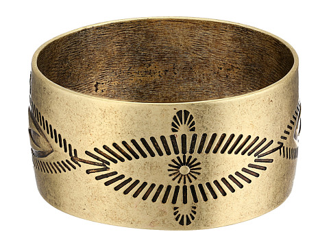 Gypsy SOULE - Antiqued Etched Wide Bangle (Gold) Bracelet