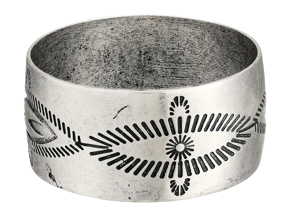 Gypsy SOULE - Antiqued Etched Wide Bangle (Silver) Bracelet