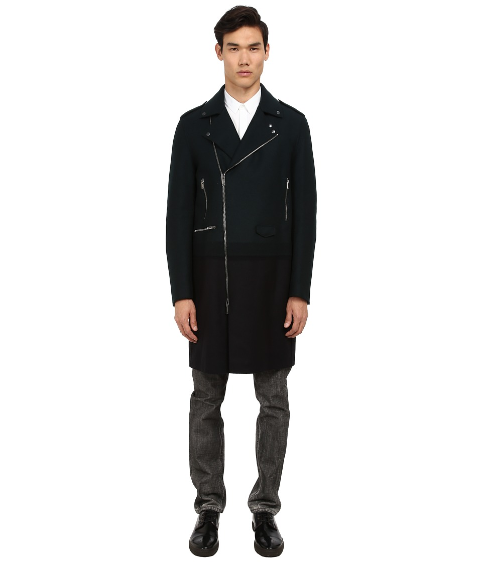 CoSTUME NATIONAL - Runway Colorblock Coat (Bottle Green) Men's Coat