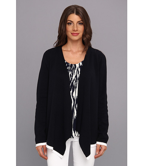 Jones New York - L/S Open Cardigan (Navy/White) Women