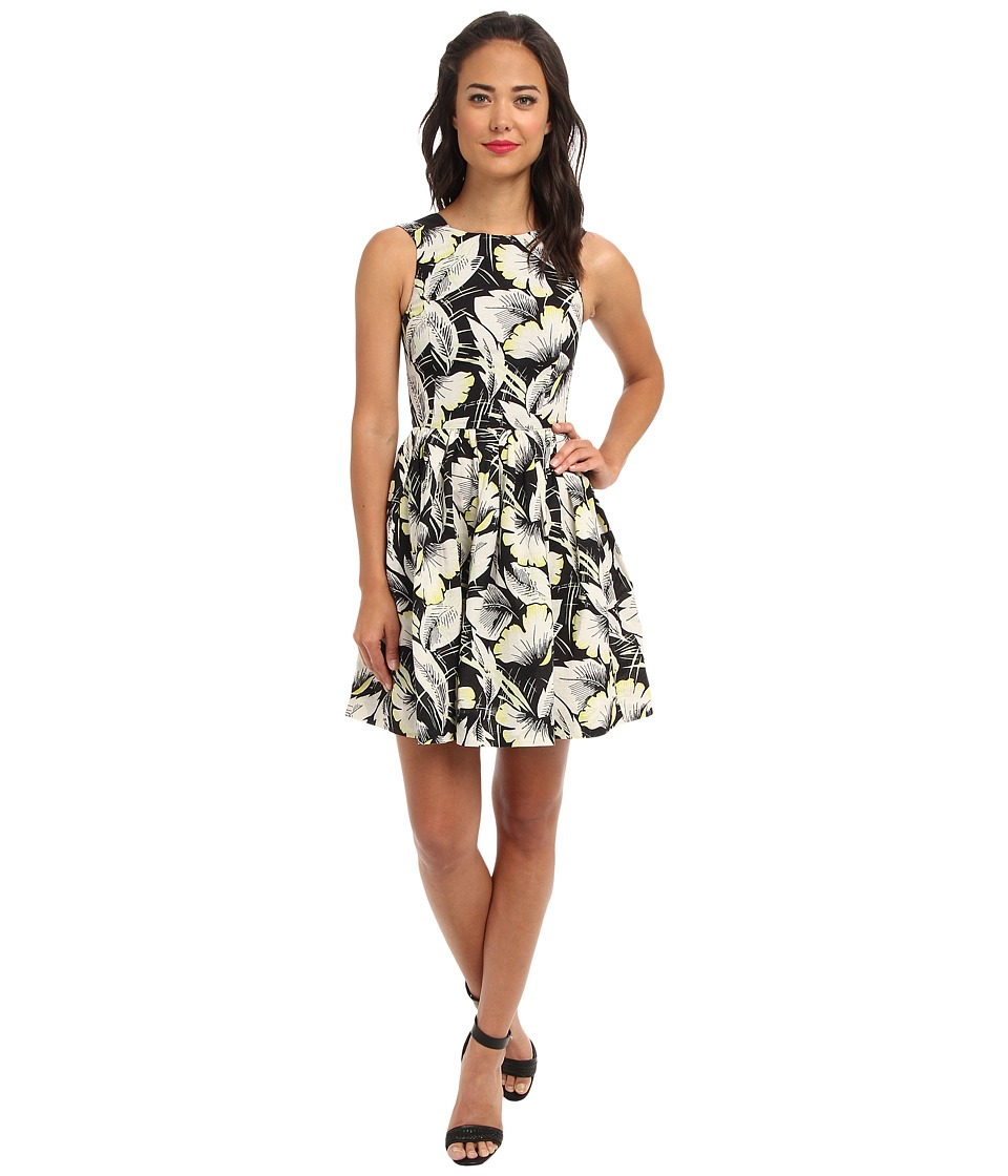 French Connection Hot House Linen 71BSB Black Multi Dress