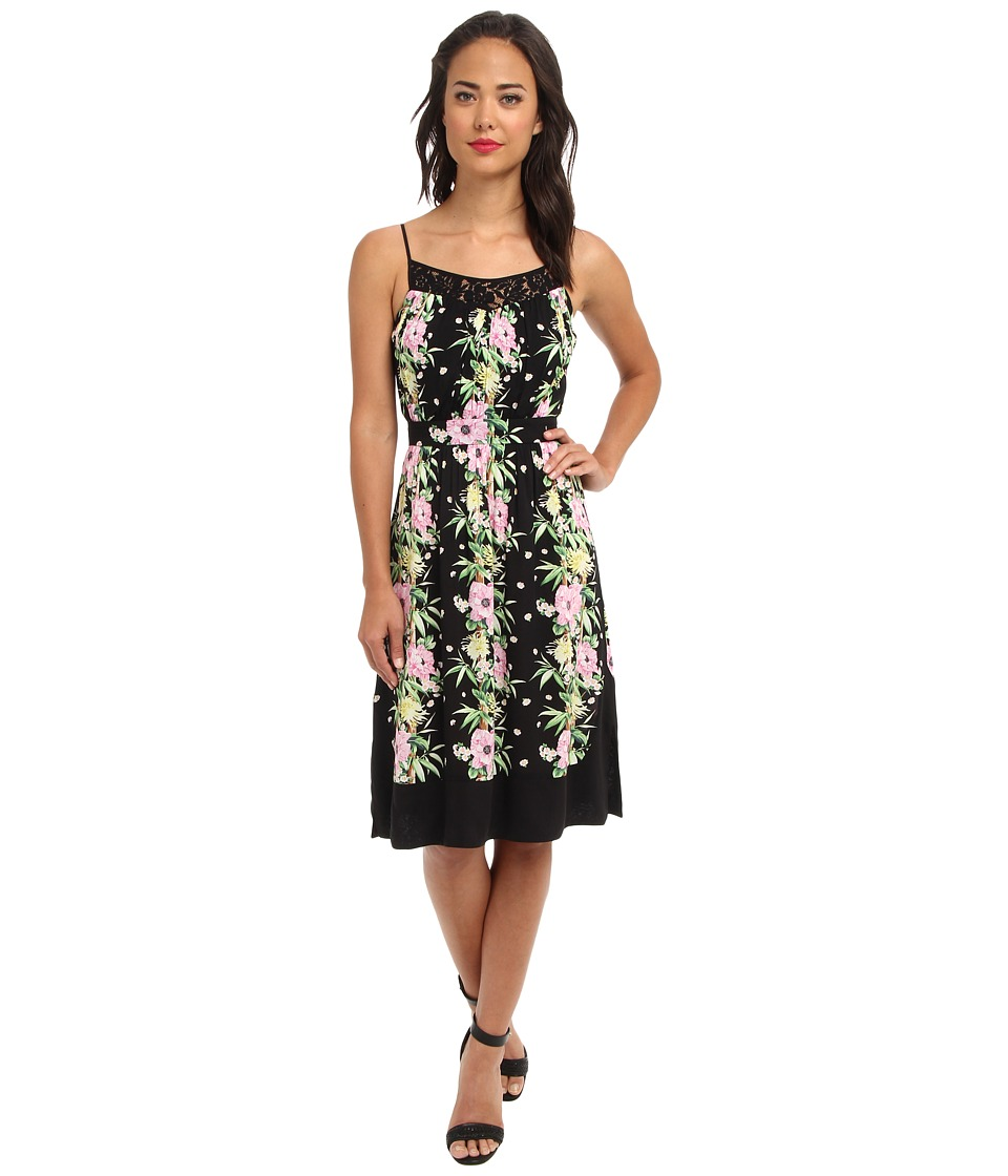 French Connection - Desert Tropicana Drape 71BOR (Black Multi) Women's Dress