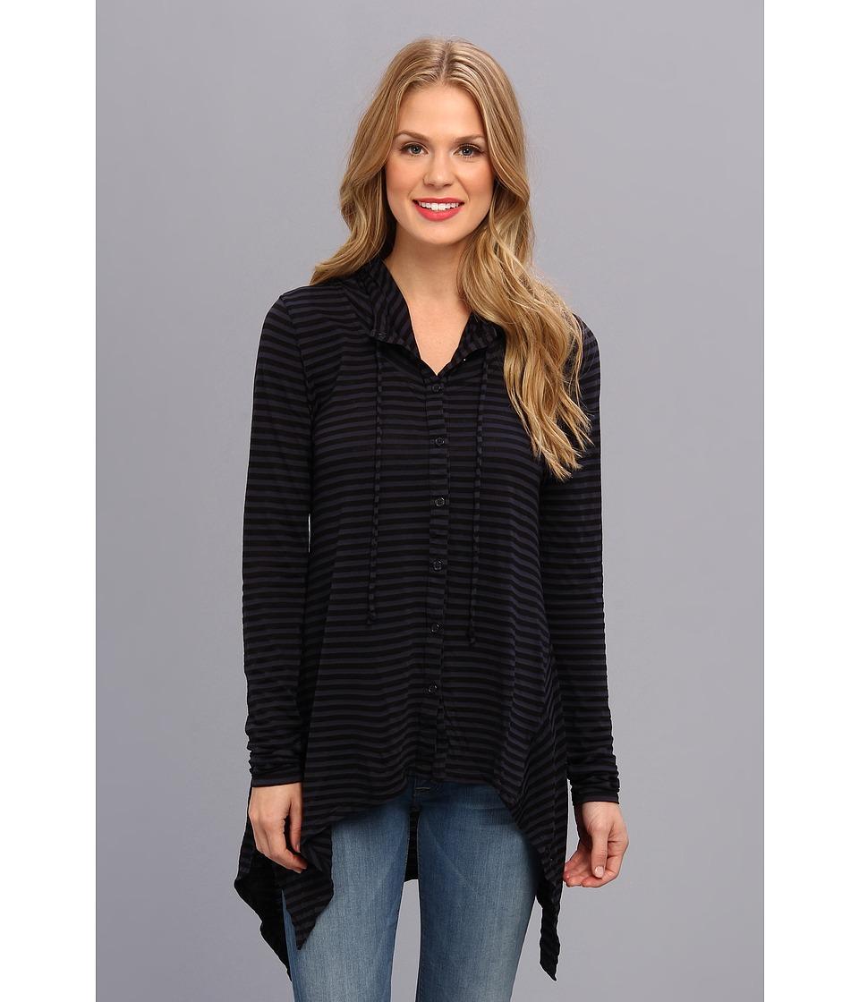 Mod-o-doc - Tonal Tencel Stripe Button Up Hi-Low Hoodie (Twilight) Women's Sweatshirt