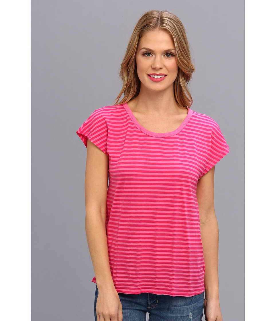 Mod-o-doc - Tonal Tencel Stripe Scoopneck Tee (Honeysuckle) Women's T Shirt