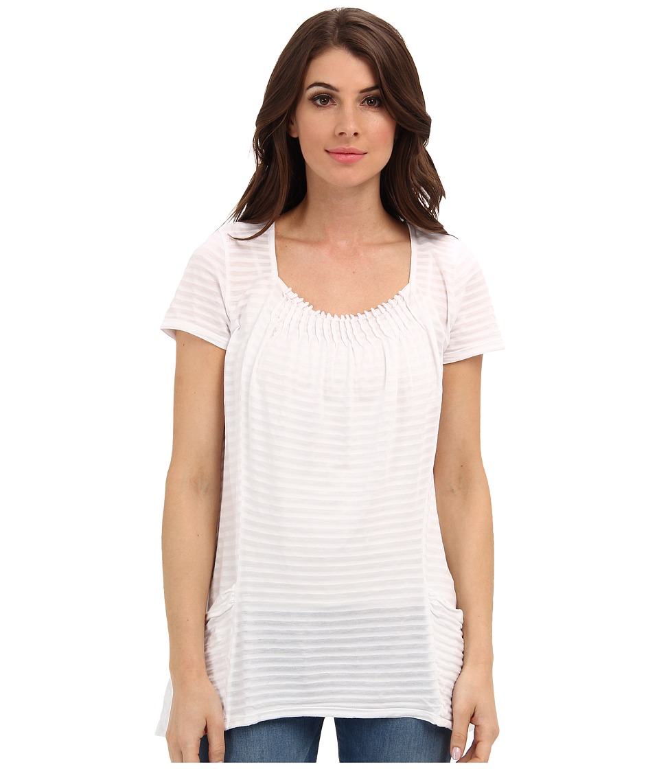 Mod-o-doc - Tonal Tencel Stripe Pintuck Pocket Tee (White) Women's T Shirt