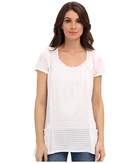 Mod-o-doc - Tonal Tencel Stripe Pintuck Pocket Tee (White) Women