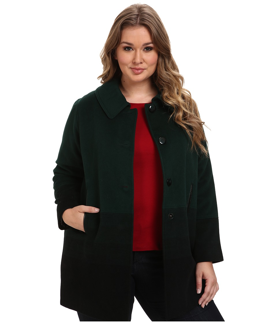 Pendleton - Plus Size Topper Coat (Green Ombre) Women