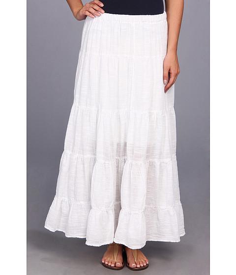 Mod-o-doc - Sheer Slub Woven Pleated Maxi Skirt (White) Women