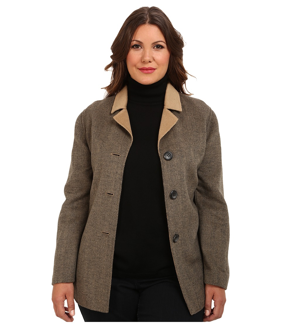 Pendleton - Plus Size Doubletime Jacket (Camel Mix/Charcoal Mix Herringbone DF) Women