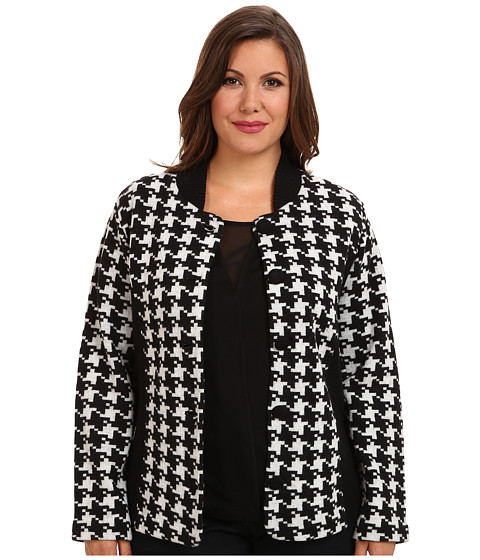 Pendleton - Plus Size Davis Houndstooth Jacket (Black/Ivory) Women's Sweater