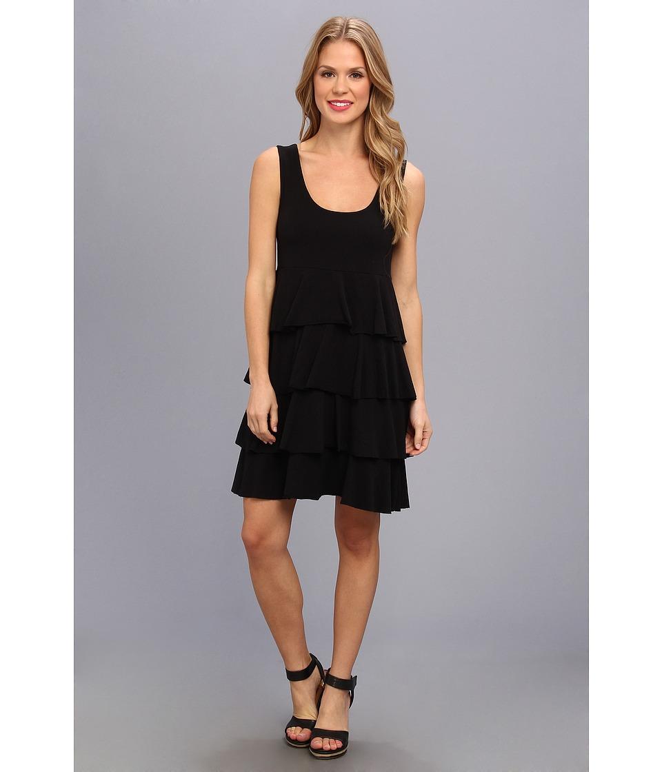 Mod-o-doc Cotton Modal Tiered Tank Dress (Black) Women