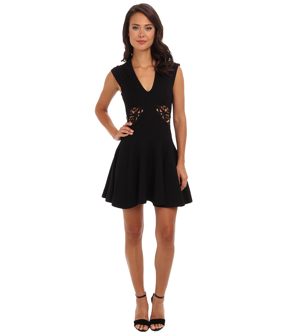 French Connection Ft Marie Stretch Embroidery 71CXE Black Dress