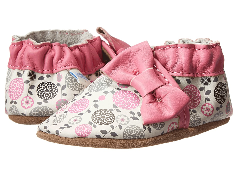 Robeez - Averie Soft Soles (Infant/Toddler) (White w/ Print) Girls Shoes