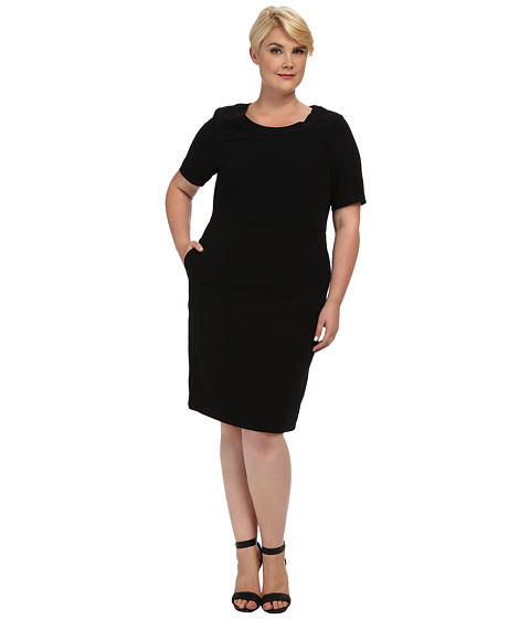 Pendleton - Plus Size Travel Tricotine Emma Dress (Black Travel Tricotine) Women