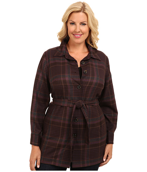 Pendleton - Plus Size Belted Shirt Jacket (French Roast Worsted Flannel Plaid) Women