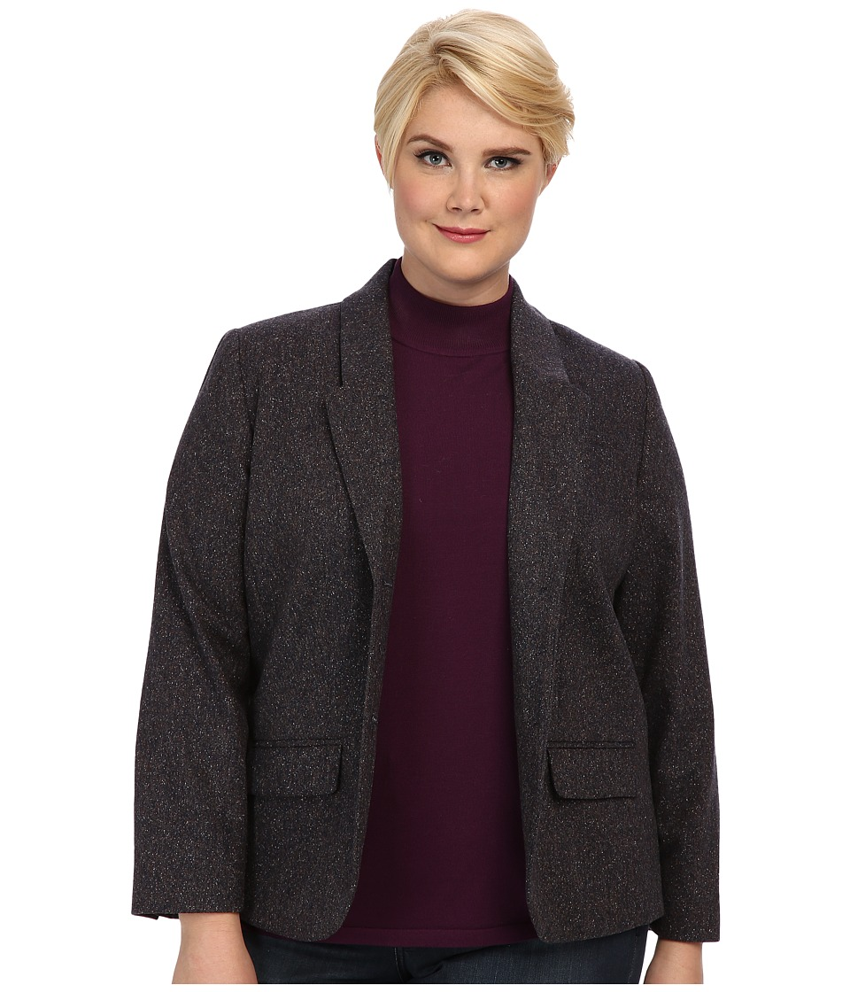 Pendleton - Plus Size Donegal Tweed Tarrington Jacket (Navy Donegal) Women