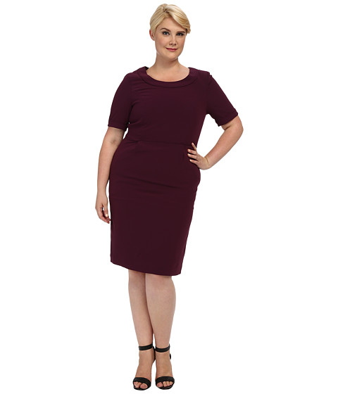 Pendleton - Plus Size Travel Tricotine Emma Dress (Aubergine Travel Tricotine) Women's Dress