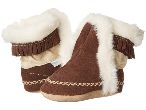 Robeez - Fab Folk Bootie Soft Soles (Infant/Toddler) (Brown) Kids Shoes