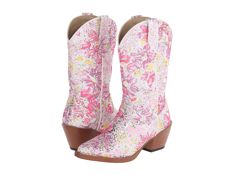 Roper Kids - All Over Glitter and Lace Snip Toe (Toddler/Little Kid) (Pink) Cowboy Boots