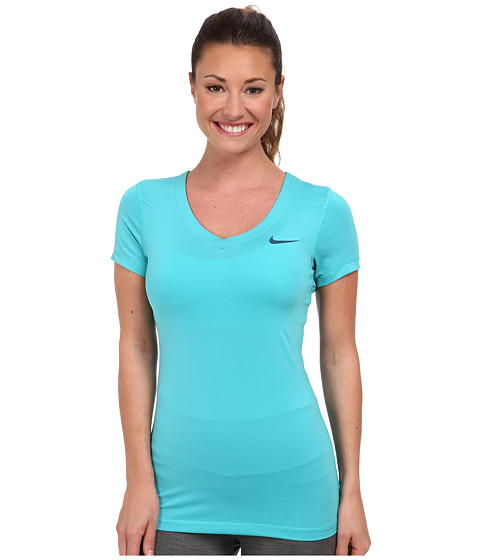 Nike - Pro S/S V-Neck Top (Dusty Cactus/Space Blue) Women's T Shirt