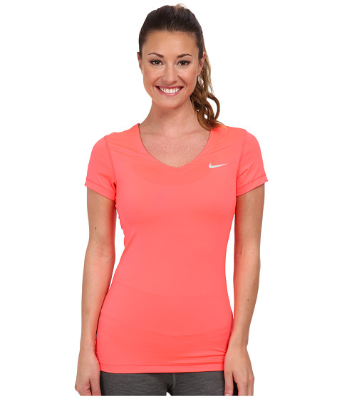 Nike - Pro S/S V-Neck Top (Hyper Punch/Base Grey) Women's T Shirt