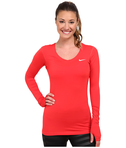 Nike - Pro Long-Sleeve (Action Red/Base Grey) Women's Long Sleeve Pullover