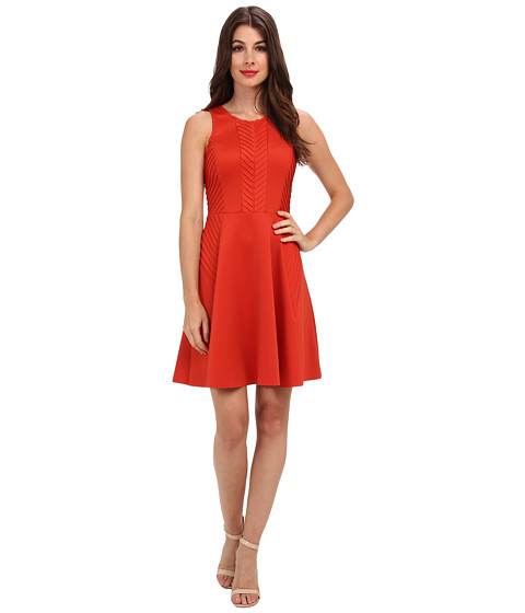 Ivy & Blu Maggy Boutique - Sleeveless Fit Flare w/ Pintucking (Orange) Women's Dress