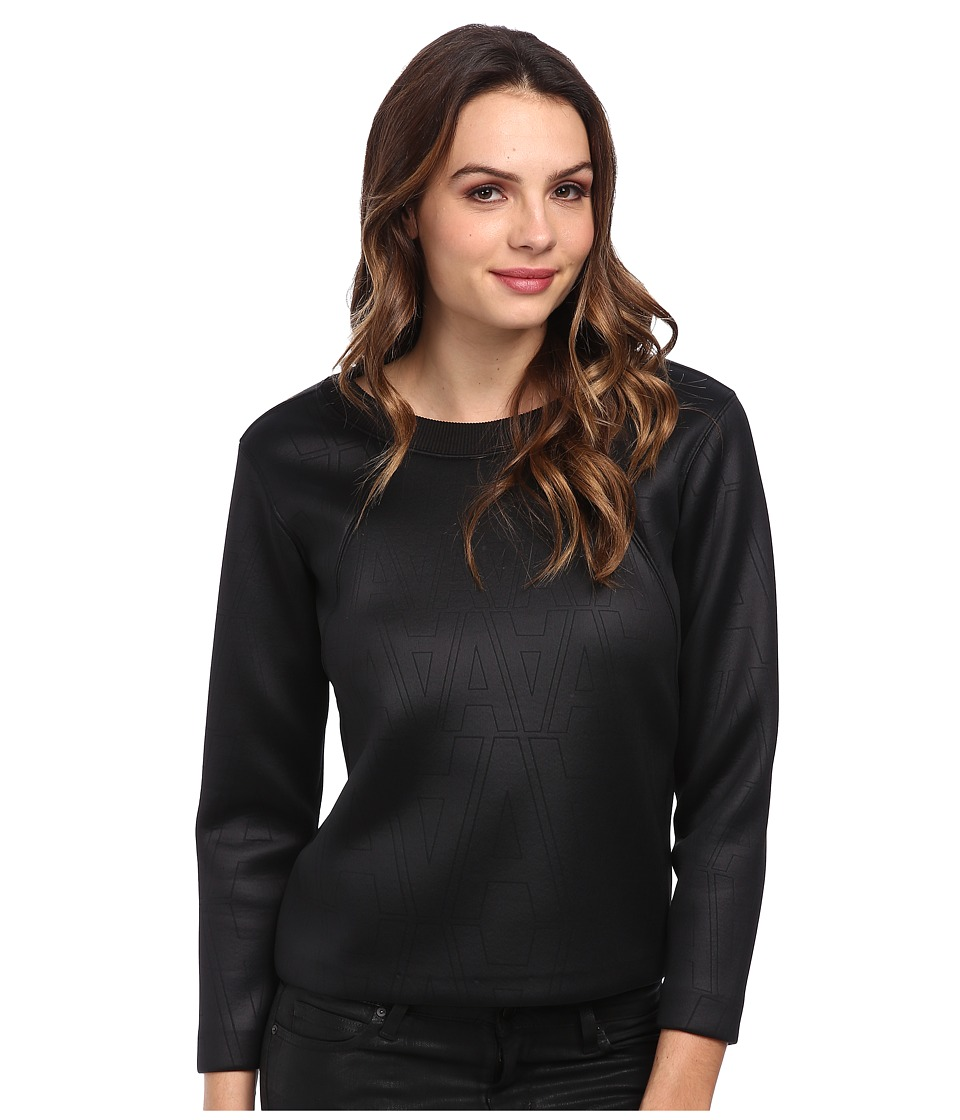 G-Star - Cantos Zip Round Neck Sweatshirt (Black) Women's Long Sleeve Pullover