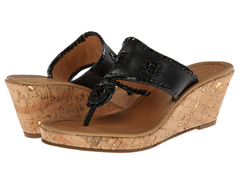 Jack Rogers - Marbella Mid-Height Espadrille (Black/Black Patent) Women's Wedge Shoes
