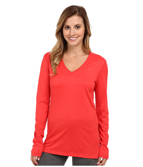 Nike - Regular Long-Sleeve Legend Tee V-Neck (Action Red/Action Red) Women's Long Sleeve Pullover
