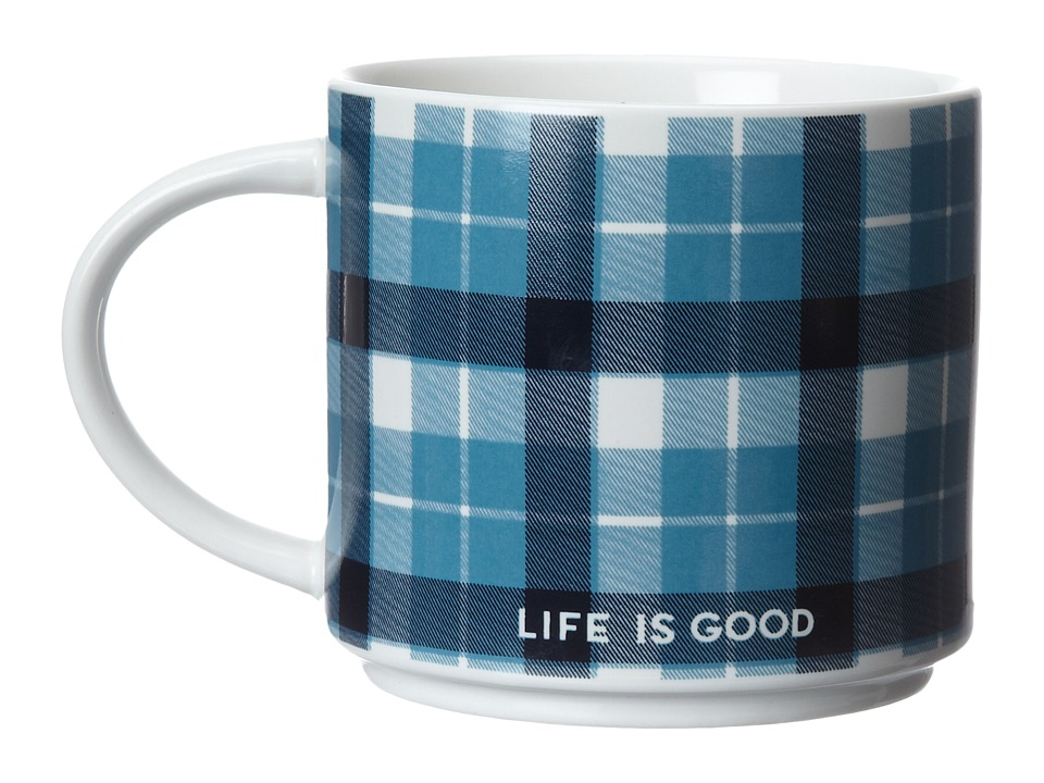 Life is good - Stack-Happy Mug (Simply Ivory/Turquoise Blue Plaid) Individual Pieces Cookware