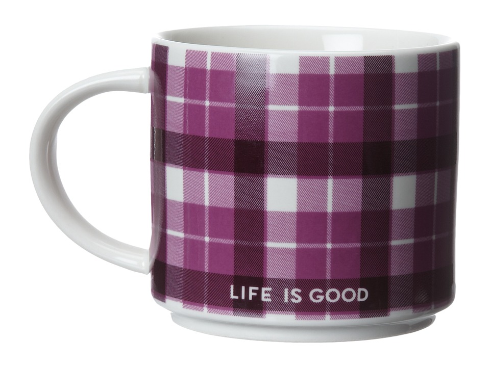 Life is good - Stack-Happy Mug (Simply Ivory/Washed Plum Plaid) Individual Pieces Cookware